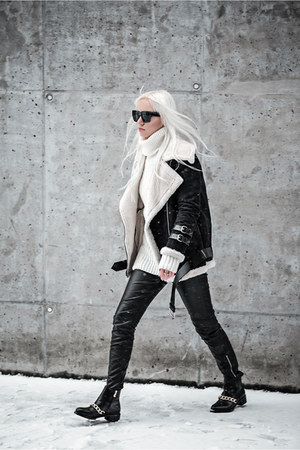 black zaful boots - black zaful coat - white zaful sweater