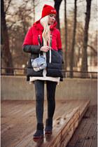 black BangGood boots - black BangGood coat - red BangGood hat