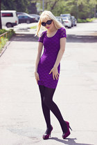 black Boohoo sunglasses - amethyst H&M dress