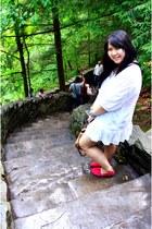 red TOMS shoes - bronze Zara bag - white long blouse H&M blouse