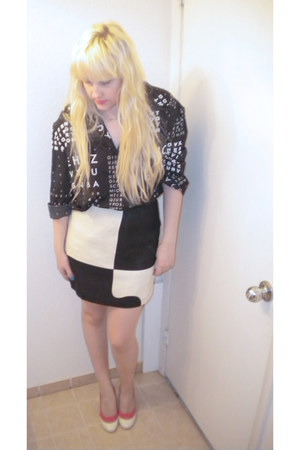 mod Urban Outfitters skirt - 6x6 Urban Outfitters blouse - H&M heels