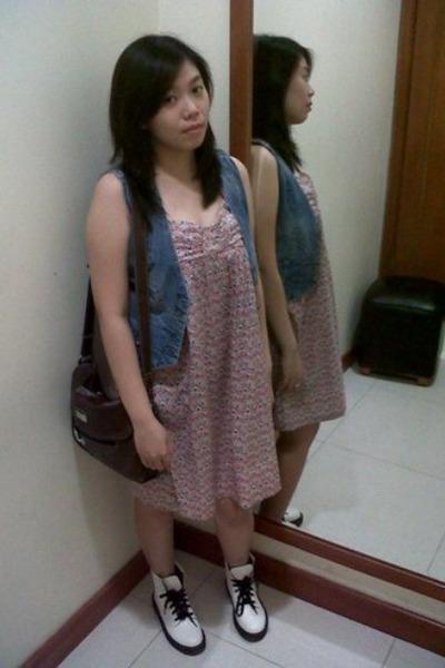 jeans vest - amanda janes shoes - floral ColorBox dress 1c963ad564