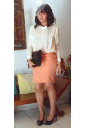 black Chanel purse - black Charles & Keith heels - light orange no brand skirt -