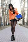 Black-aldo-boots-orange-zara-blazer-blue-celine-bag-black-h-m-shorts