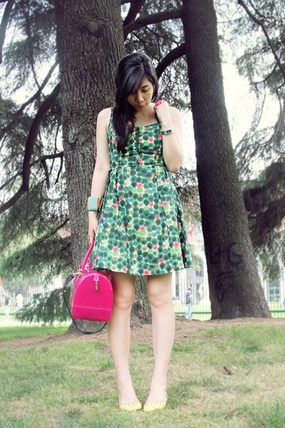 chartreuse summer dress kate spade dress - hot pink jelly bag Furla bag