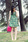 Chartreuse-summer-dress-kate-spade-dress-hot-pink-jelly-bag-furla-bag