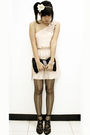 White-forever-21-accessories-beige-zara-dress-black-purse-gray-topshop-tig
