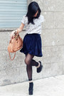 Navy-velvet-american-apparel-skirt-light-blue-birds-printed-zara-shirt