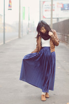 blue American Apparel skirt - brown leather jacket Zara jacket