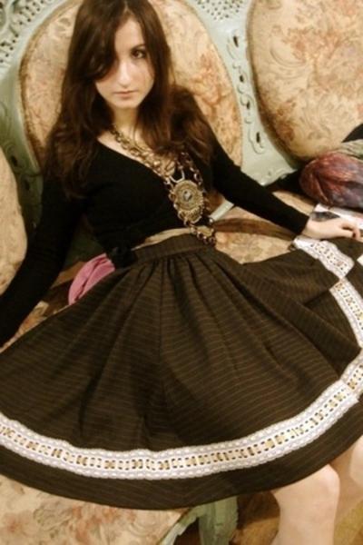 danskin sweater - vintage skirt - my mom necklace