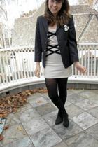 beige Topshop dress - black not sure maybe Zara blazer - black HUE tights - beig