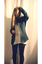 black H&M leggings - silver H&M blazer - silver H&M top