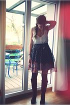 black H&M skirt - white H&M top - brown Athna boots