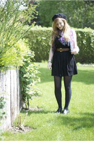 black Zara dress - brown H&M belt - blue gift scarf - black Athena shoes - black