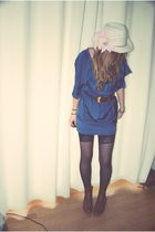blue H&M dress - brown gift belt - black gift stockings - white Zara hat - brown