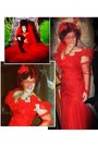 Red-lace-gown-second-hand-me-down-vintage-dress