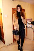 camel longline asos coat - leather H&M Trend bag - pinstripe Mango pants