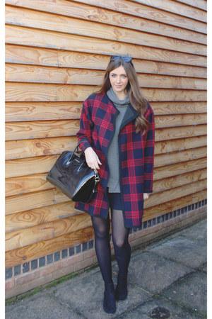 red tartan Zara coat - heather gray turtleneck Zara sweater
