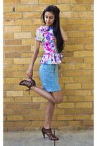 pink asos top - light blue Mink Pink skirt - dark brown Novo heels