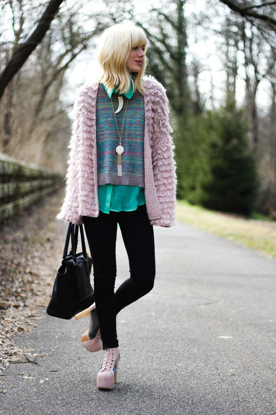 light pink Jeffrey Campbell boots - black Zara jeans - aquamarine blouse