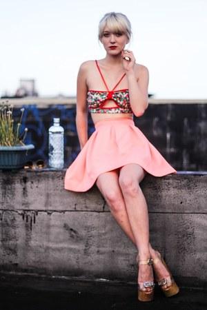 hot pink Akira top - bubble gum Nasty Gal skirt - neutral Jeffrey Campbell heels