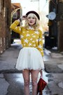 Mustard-target-sweater-white-chicwish-skirt