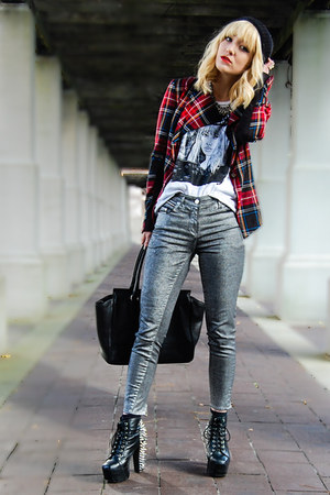 plaid Heed blazer - skinny jeans H&amp;M pants