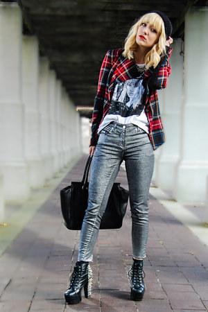 plaid Heed blazer - skinny jeans H&M pants
