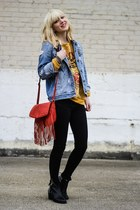 red Target bag - gold Sheinside jumper
