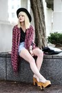 Magenta-shawl-bcbg-cardigan-light-blue-denim-diy-shorts