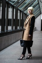 camel Urban Outfitters coat - black BCBG heels