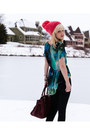 Hot-pink-anthropologie-hat-teal-cosmic-inlovewithfashion-shirt