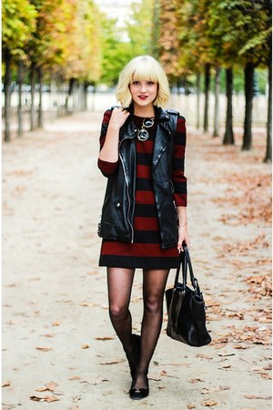 crimson Zara dress - black All Saints vest