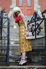 Mustard-anthropologie-dress-hot-pink-urban-outfitters-scarf