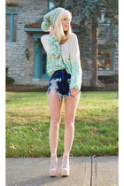 aquamarine free people shirt - light pink cleata Jeffrey Campbell shoes