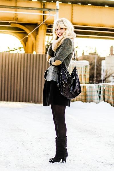 gray Zara blazer - black Moschino belt