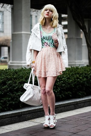 light pink inlovewithfashion skirt - aquamarine Papaya clothing top