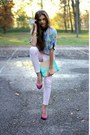 Light-blue-h-m-shirt-light-pink-h-m-pants-magenta-bershka-heels