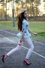 Light-blue-h-m-shirt-magenta-bershka-heels-light-pink-h-m-pants