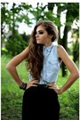 Light-blue-h-m-shirt-black-bershka-skirt
