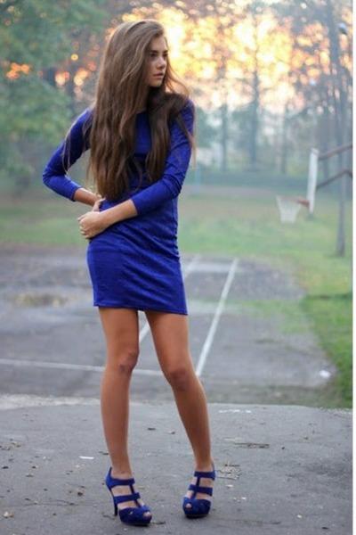 blue H&M dress - blue pull&bear heels