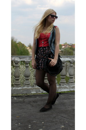 black SH boots - blue m-o-t-o m-o-t-o jacket - gray bershka Bershka shirt - dark