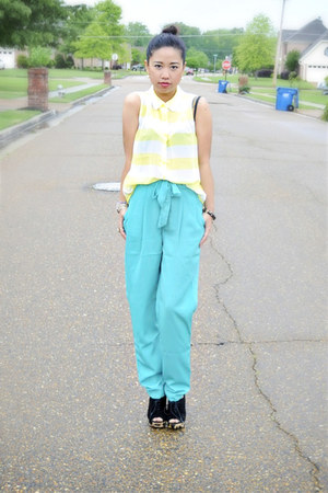 turquoise blue Forever 21 pants - light yellow Forever 21 top - Prada wedges