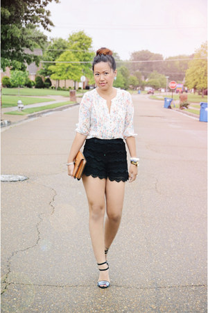 Zara shorts - melie bianco purse - Zara heels