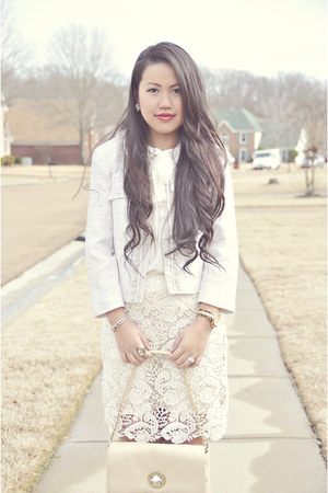 ivory lace Forever21 skirt - ivory tweed willi smith blazer