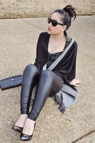 cat eye Chanel sunglasses - shawl BCBG sweater - leather HUE leggings