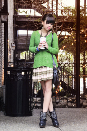 chartreuse Anthropologie sweater - bronze sam edelman boots