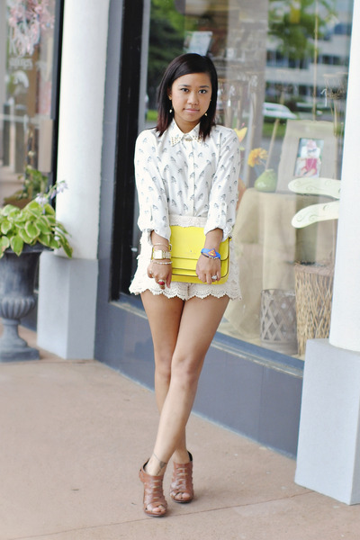lace Zara shorts - neon yellow kate spade bag - studded collar Zara blouse