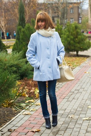 navy rag & bone boots - light blue Topshop coat - ivory H&M scarf