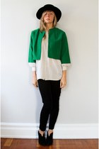 forest green Oma Vintage jacket - ivory Oma Vintage shirt - black JCrew pants -